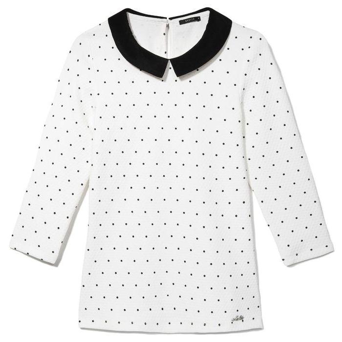 Блузка Белая В Черный Горошек Купить