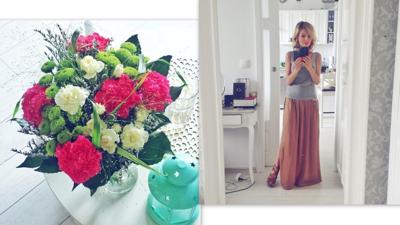 kwiaty i spódnica maxi