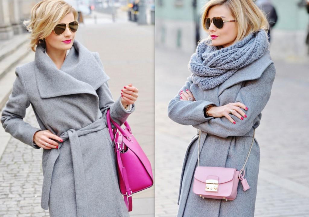 ania zając blog modowy stylizacja szary płaszcz  mango okulary liu jo