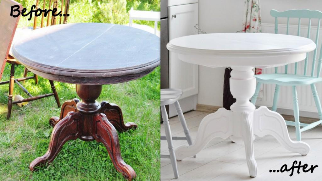 metamorfoza stołu malowanie stołu na biało odnawianie mebli