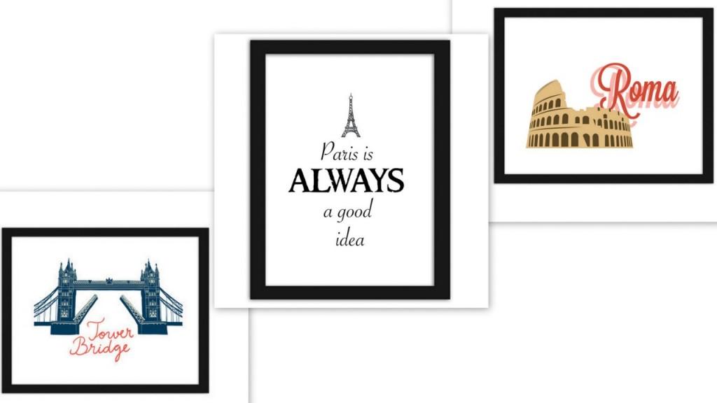 plakaty grafiki w ramach podróże londyn paryż rzym