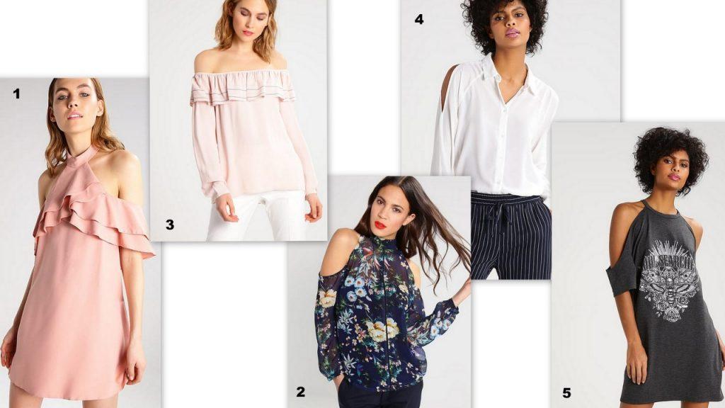 bluzki i sukienki z odkrytymi ramionami Zalando trendy wiosna lato 2017