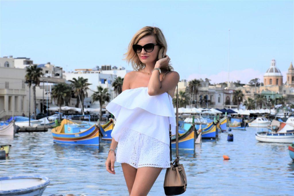białe szorty koronkowe topshop blog modowy