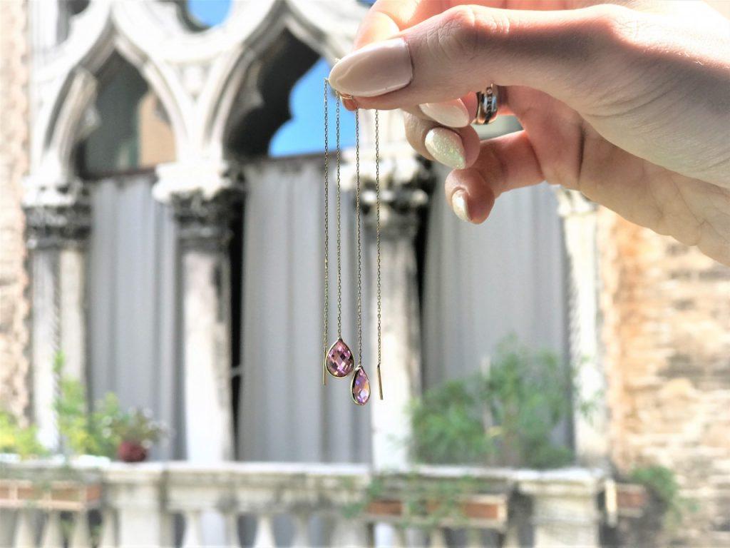 apart kolczyki z różowym kamieniem wiszące