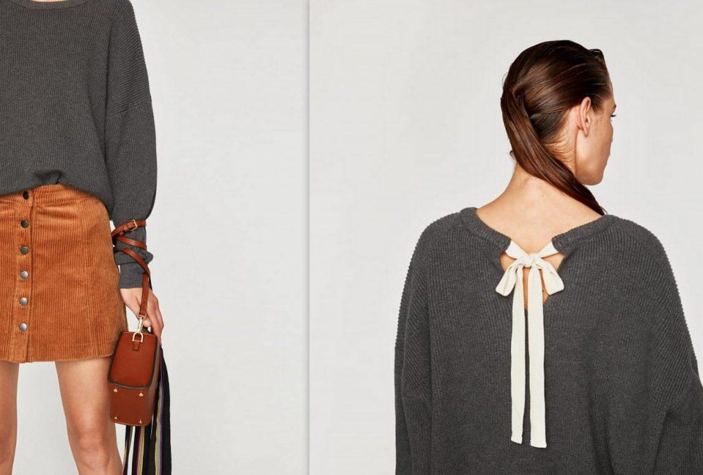szary sweter z wiązaniem kokarda zara