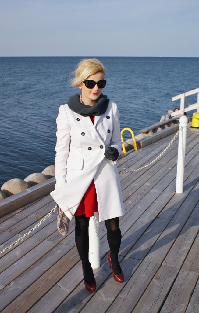 czerwona sukienka blog modowy