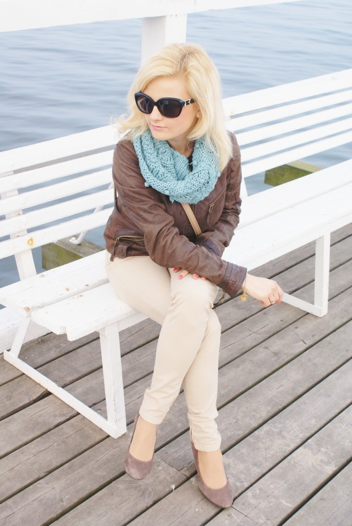 gdynia Orłowo brązowa skórzana kurtka fashionable