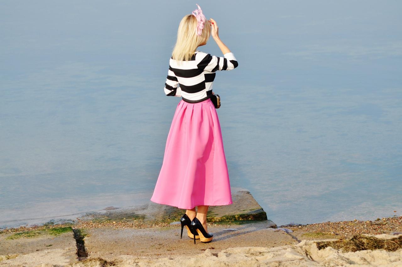 różowa spódnica blog modowy