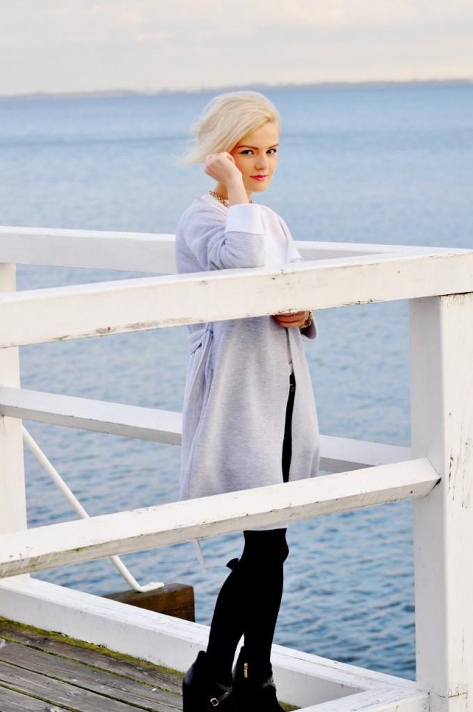 szary bawełniany płaszcz blog modowy