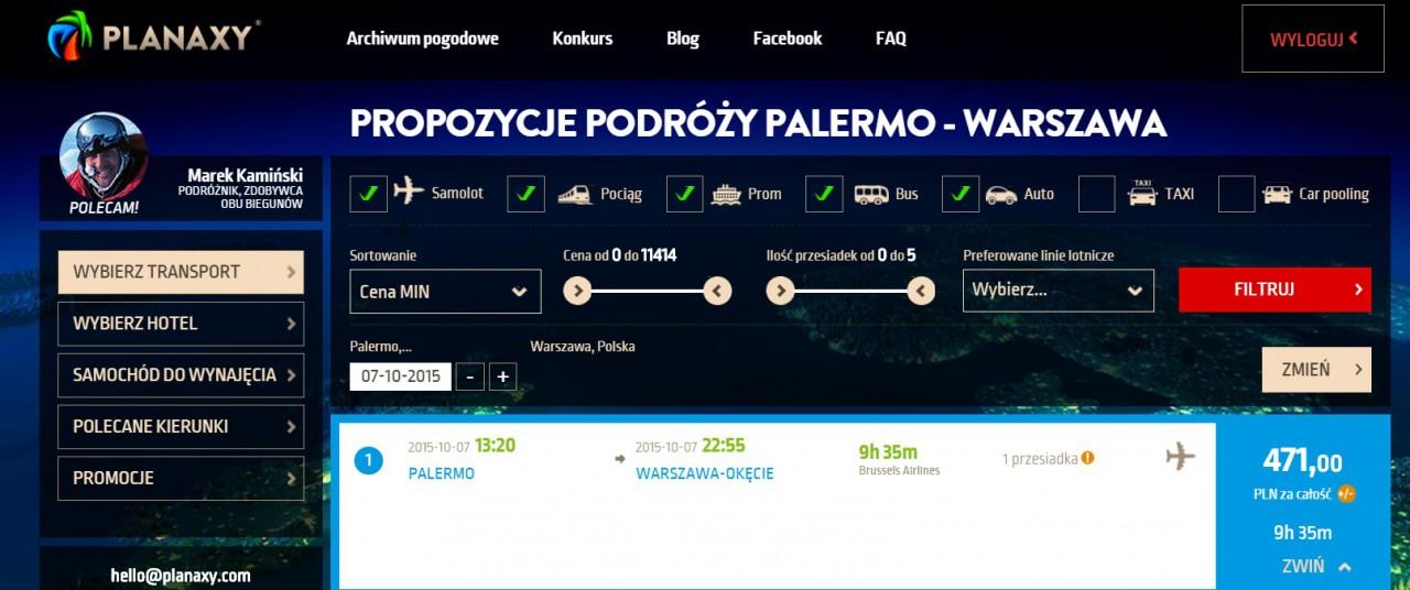 Planaxy Palermo - Warszawa
