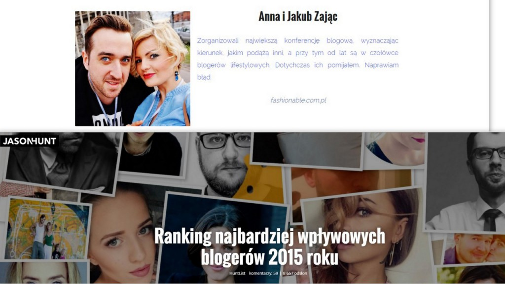 jason hunt ranking anna i jakub zając blog lifestyle