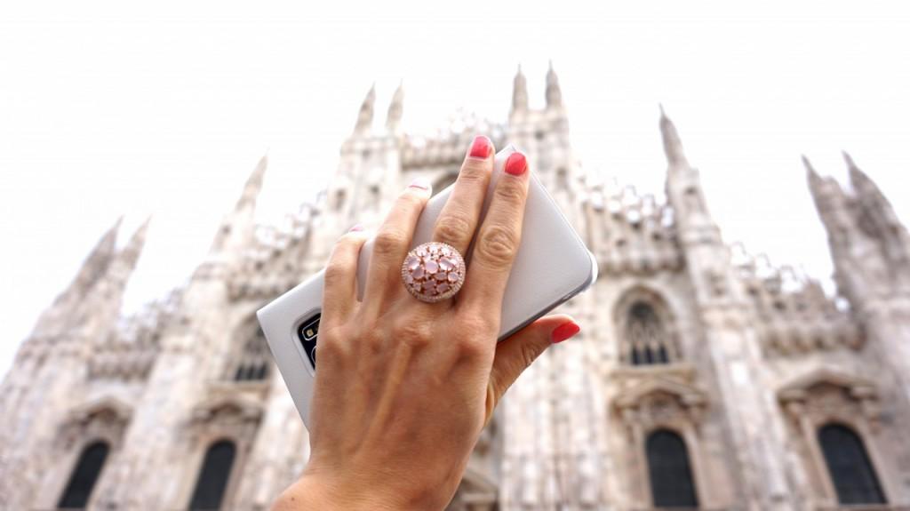 pierścionek artelionu duży różowy