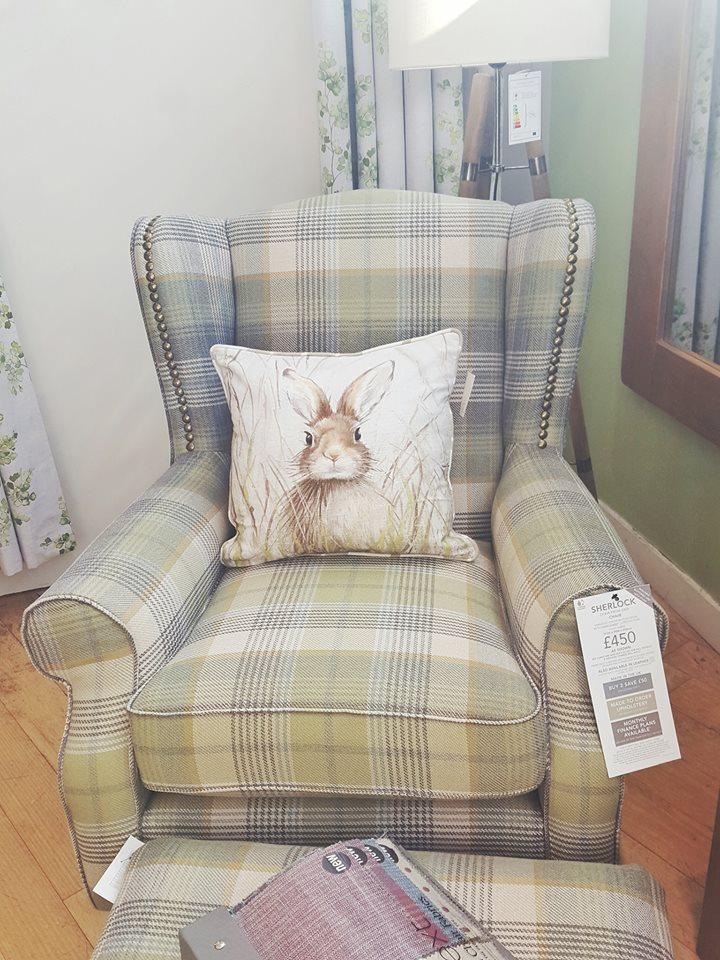 fotle angielski w kratę poduszka z zajcem blog lifestyle dom design