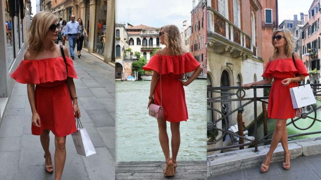 czerwona sukienka modna polka