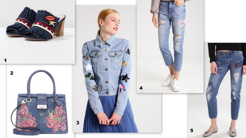 jeansy z nadrukami trendy wiosna lato 2017