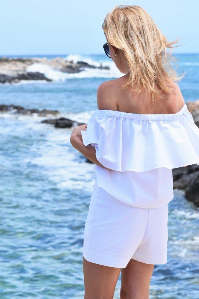 biała bluzka hiszpanka stylkizacja blog matla bugibba