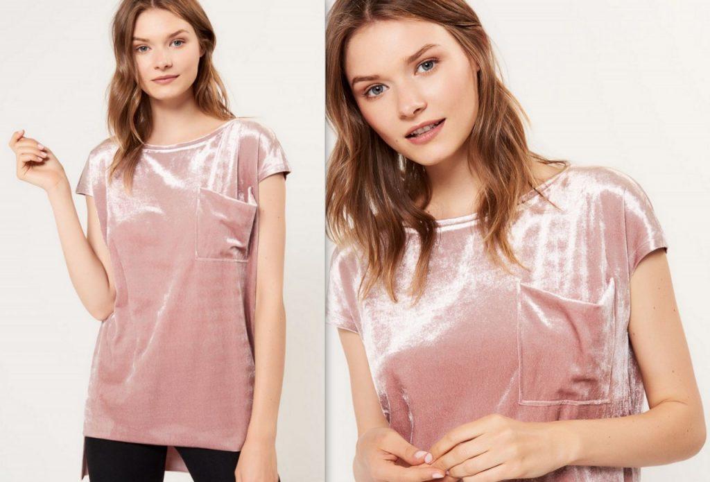 aksmaitna koszulka w pudrowym różu