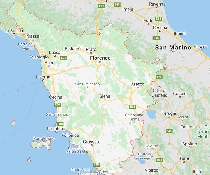 toskania mapa